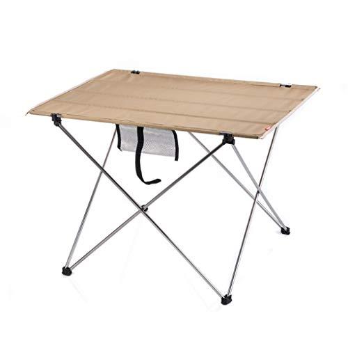 LCHAIR Folding Schreibtisch, Leichtgewicht Aluminiumlegierung Tragbarer Tisch (Color : Khaki, Size : Large) -