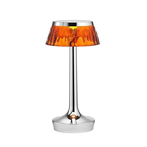 Flos Bon Jour Unplugged Lampe de table portable rechargeable avec structure chrome et abat-jour ambre 220 Volt