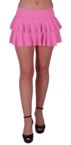 Neon 2 Layer Ruffle Short Club Party Slinky Skirt in Many Colours