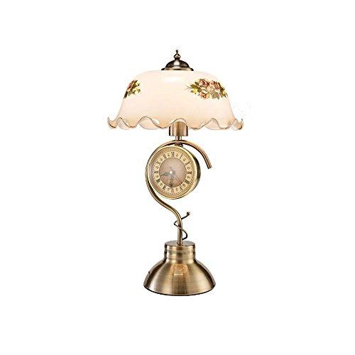 Preisvergleich Produktbild WSXXN Vintage Simple Design Wohnzimmer Tischlampe Exquisite Glas Lampenschirm Schlafzimmer Lampe Touch Dimmen Uhr Büro Studie Schreibtischlampe ( Farbe : Push button switch )