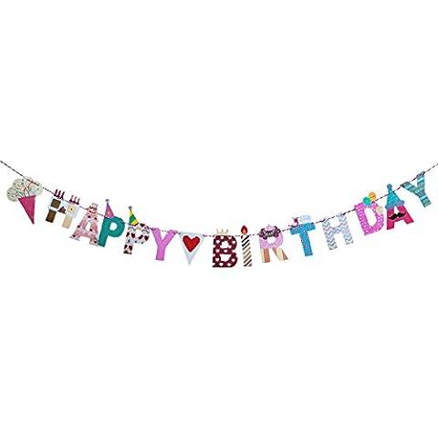 Oblique-Unique® Happy Birthday Girlande - Party Kinder Geburtstag Kinderzimmer Kindergarten