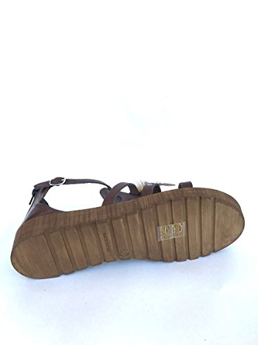 Sandali in pelle etnici BT5433972 cuoio nero bianco zeta MainApps Cuoio