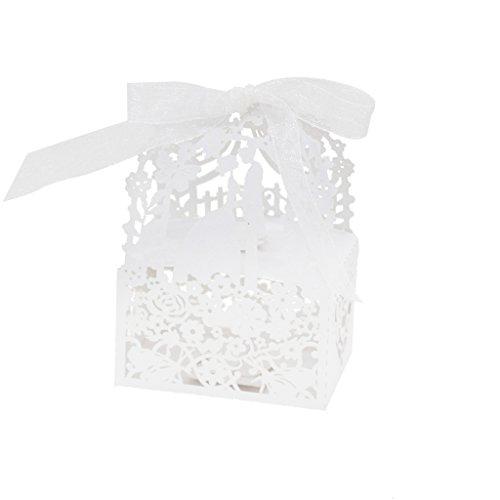 �r Band Geschenk Boxen Schachtel Verpackung Hochzeit Partei Dekor - Weiß, L ()