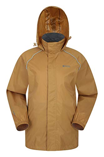 Mountain Warehouse Pakka wasserdichte Herren Jacke zusammenfaltbare Regenjacke Windjacke Kapuze Tragebeutel Camping Outdoor, Frühling Dunkelgelb XX-Large