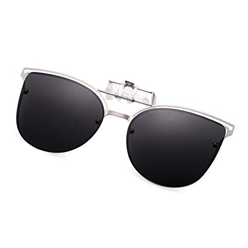 WELUK brille clip, Katzenauge Mode UV-Schutz Sonnenbrille Aufsatz für Frauen, flip-Sonnenbrille aus Metallrahmen für Korrekturbrillen. (schwarz)