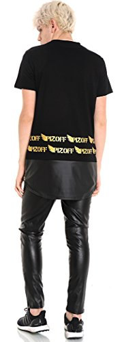 Pizoff Unisex Hip Hop Langes T-Shirt mit Medusa Druckmuster und Reißverschluss Y1534