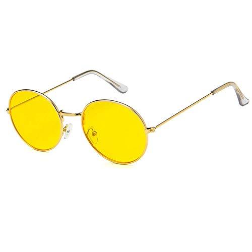 Tianzhiyi Draussen Retro Sonnenbrille Runde Vintage Polarisierte Linsen Metall Gestell Rundbrille Hippi Brille Outdoor-Brille für Frauen und Männer (Color : Yellow, Size : 14x13.5x5cm)