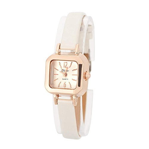 Quarzuhr, Armbanduhr Damen Modisch mit PU Armband und Gehäuse quadratisch aus Metall 7 Farben(Bianco)