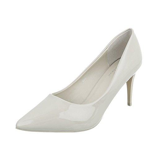Ital-Design Klassische Pumps Damen-Schuhe Klassische Pumps Pfennig-/Stilettoabsatz High Heels Pumps Creme, Gr 39, 5015-16-