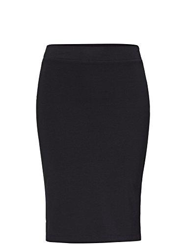 ADPT. Damen Pencil Skirt Knielang mit Schlitz an der Seite Bleistift Rock elastisch Schwarz