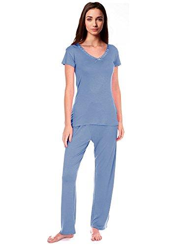 Femmes Détail Nœud Confortable PJ Pyjama Ensemble Viscose Pyjamas Pyjamas femmes Vêtement De Détente Powder Blue S/S Cookies & Cream