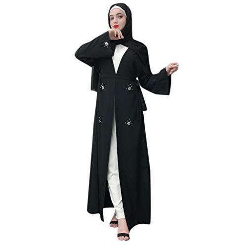 Lazzboy Frauen Durchbrochene Bestickte Langes Kleid Open Abaya Cardigan Muslim Dubai Damen Maxikleid Türkischer Trompetenärmel Lange Kleider Tunika Kostüm - Öffentliche Figur Kostüm