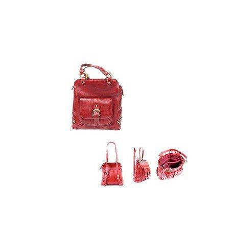 Charmoni - Sac à Dos Convertible à Sac à Main Porte à L'épaule Femme En Cuir De Vachette Véritable Neuf Charline Rouge