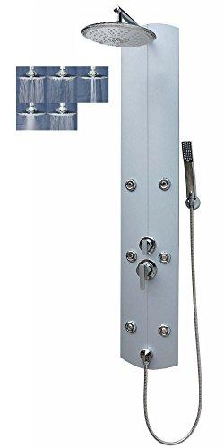 Duschpaneel Duschsäule Brausepaneel große Regendusche aus Aluminium Duschsystem Duscharmatur mit 6 Massagedüsen Handbrause Duschkopf Warm-Kalt Mischer Wand-und-Eckmontage Wandanschluss in Silber