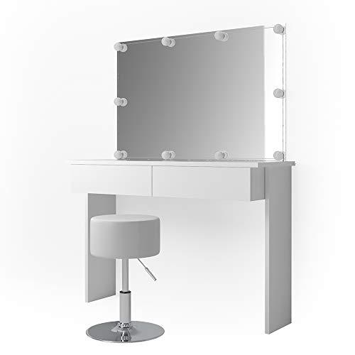 Vicco Schminktisch Azur mit LED-Beleuchtung, Hocker und Spiegel Weiß Hochglanz Kosmetiktisch Frisierkommode Frisiertisch (Schminktisch + Spiegel)