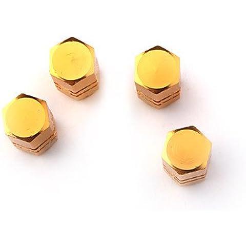 DZXGJ® válvulas de los neumáticos de lujo tapas / tallos de oro para el coche (4 piezas por paquete)