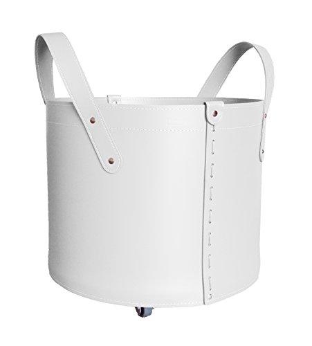 TONDA MINI: Porte bûches en cuir de couleur Blanc, Sac à bûches, Porte-bûche, Panier à bûches, Idée cadeau, Made in Italy, Design Firestyle®.