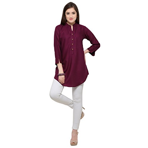 Serein Women's Rayon Solid Short Kurti/top with 3/4th Sleeves (Purple Rayon Solid...