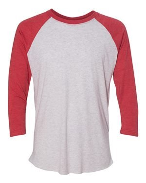 Unisex Triblend 3/4-Sleeve Raglan VIN RD/ HTHR WHT S (Raglan-shirt 3/4)