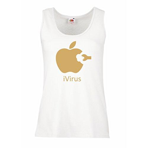 Femme Débardeur Sans manche iVirus - Cadeau drôle de nouvelle technologie Blanc Or