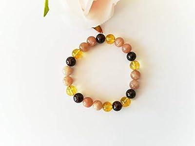 bracelet pierre de soleil, bracelet grenat, bracelet citrine, bracelet vitalité, bracelet énergie, bracelet mala, bracelet soleil, cadeau noel pour elle, pierres naturelles