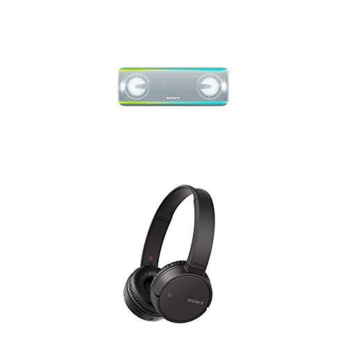 Sony SRS-XB41 Altoparlante Wireless Portatile, Extra Bass, Bluetooth, NFC, IP67, Batteria 24 ore, Bianco + WH-CH500, Cuffie Wireless Bluetooth NFC con Durata della Batteria di 20 Ore, Nero