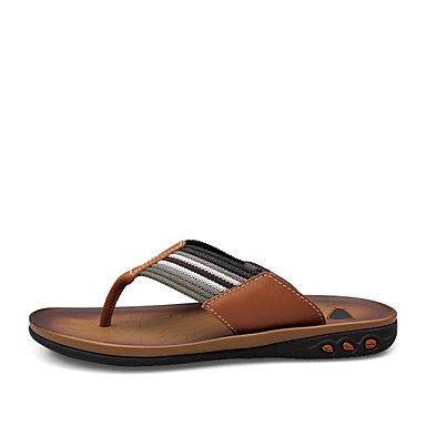 Herren Schuhe Casual Leder Hausschuhe Braun/Khaki Braun
