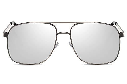 Cheapass Sonnenbrille Herren Silber-n Verspiegelt UV-400 Flieger-Brille Metall-Rahmen Männer