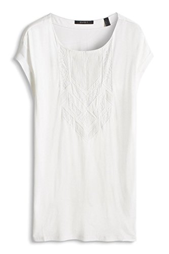 Esprit 036eo1k017-Floated Weiche Qualität, T-Shirt Femme Écru (Off White)