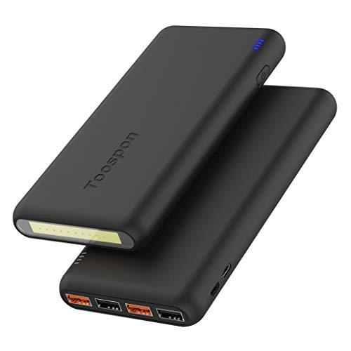 4-Port Powerbank 30000mAh LED Taschenlampe Externer Akku Mobiles Portable Ladegerät Die Powerbank kann Nicht nur Ihr Handy Aufladen sondern sie ist auch kompatibel mit Spielkonsole(Schwarz)