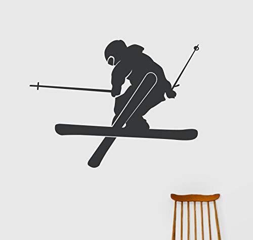 Abnehmbare Dekoration Sport Silhouette Applique gute Vinyl Wandaufkleber Sport Teen Schlafzimmer Freistil Ski Aufkleber 74 * 56cm -
