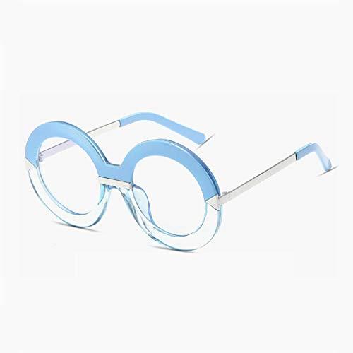 Sonnenbrille Metall Runde Rahmen Outdoor Ausrüstung Fahren Lässige Mode Komfortable Anti-UV-Strahlung Reflektierende Schutzbrille (Farbe: Blauer Rahmen durchscheinend Blaue Linse)