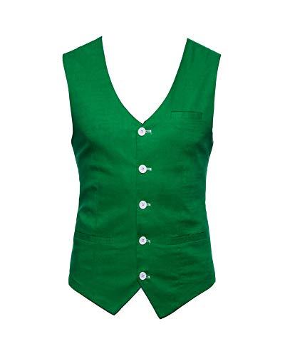 Homme Gilet Costume Veste Slim Fit Business Mariage sans Manches Blouson Vert Herbe M