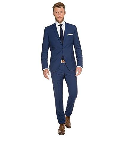 Marzotto - Slim Fit - Herren Baukasten Anzug aus Super 100'S Schurwolle, Steven AMF BK/Stan BK (CHS-9999-6729), Größe:106;Farbe:Deep ocean