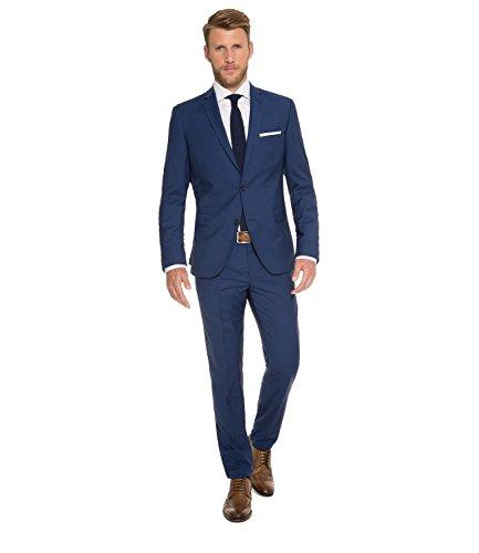 Michaelax-Fashion-Trade Marzotto - Slim Fit - Herren Baukasten Anzug aus Super 100'S Schurwolle, Steven AMF BK/Stan BK (CHS-9999-6729), Größe:58, Farbe:Deep ocean blue