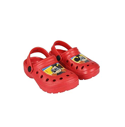 Takestop® ciabatte crocs pantofole mare gomma antiscivolo topolino mickey mouse blu rosso cartone animato disney piscina mare bambino bambina unisex (28/29 eu, rosso)