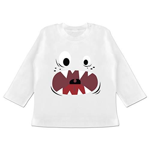 Karneval und Fasching Baby - Monster Kostüm Gesicht - 3-6 Monate - Weiß - BZ11 - Baby T-Shirt Langarm