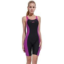 KPILP Combinaison Maillot de Bain Costume de Surf - Sbart Femme Coupe Slim Les Sports Maillot de Bain S-3XL (Violet,3XL)