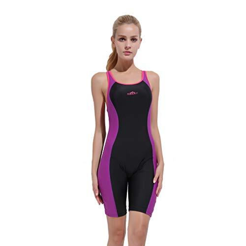 iYmitz Damen Sommer Badeanzug Einteiler Schnelltrocknend Bodysuit Professioneller Sport Frauen Bademode(Violett,M)