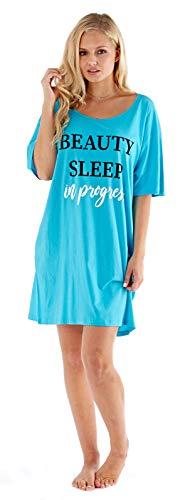 bc7ca40feccc Lora Dora Womens Slogan Nightdress Cotton T-Shirt Nightie Blue Beauty Sleep  S-M
