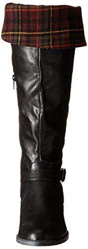 Bella Vita RomyII Breit Rund Kunstleder Mode-Knie hoch Stiefel Black/Burgundy Plaid