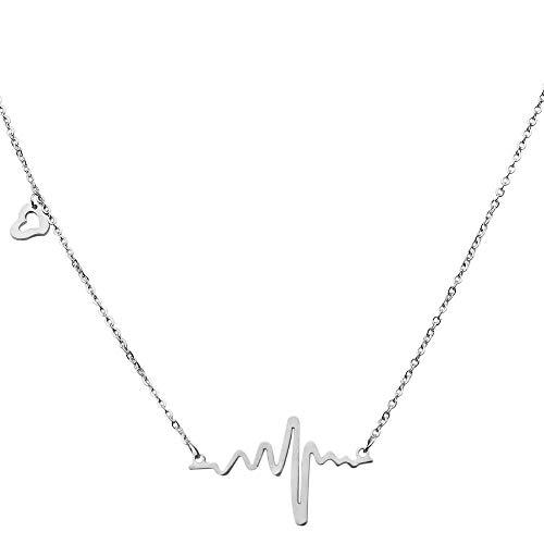 tumundo Halskette Herzschlag Puls Rythmus EKG Herz-Frequenz Elektrokardiogramm Anhänger Liebe Edelstahl Damen-Schmuck, Farbe:silbern