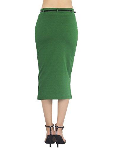iB-iP Damen Elastische Figurbetontes Bandage Weichen Hohe Taille Bleistiftrock Staubige grün