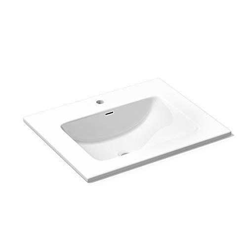 Mai & Mai Design Waschbecken Einbauwaschbecken Colossum02-600 BTH: 60x48x12cm aus Gussmarmor in Weiß