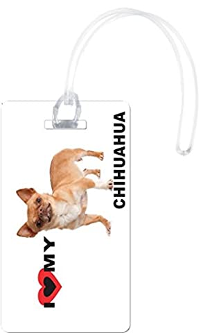 Rikki Knight I Love My Brown Chihuahua Dog Flexi Luggage Tags, White