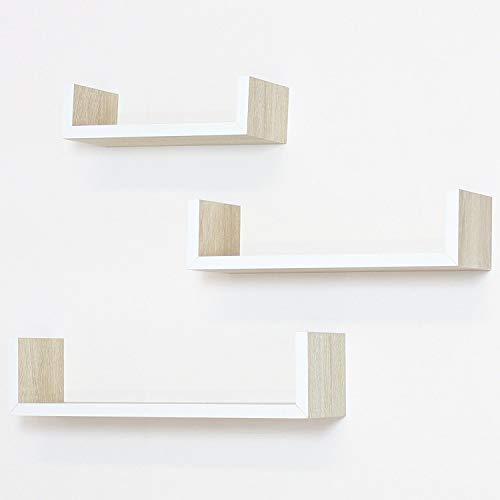 FRANK FLECHTWAREN Série 3 étagères murales, conception tendance façon bois, placage, bord laqué blanc