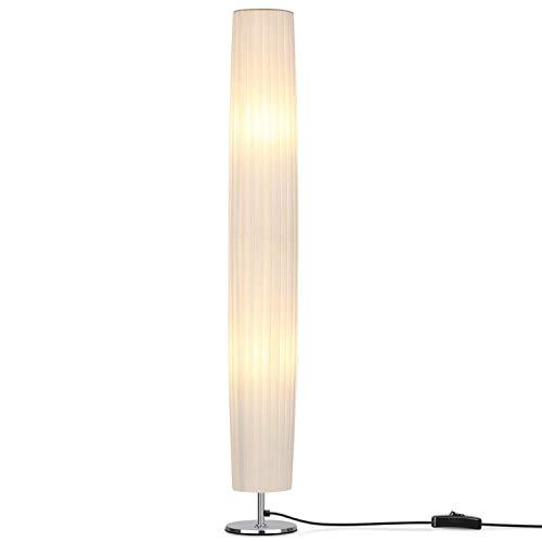 Albrillo Lampadaire - Moderne, Lampadaire E27 avec abat-jour en tissu, base en acier inoxydable, lumière tamiseé, Blanc 120cm pour Salon et Chambre