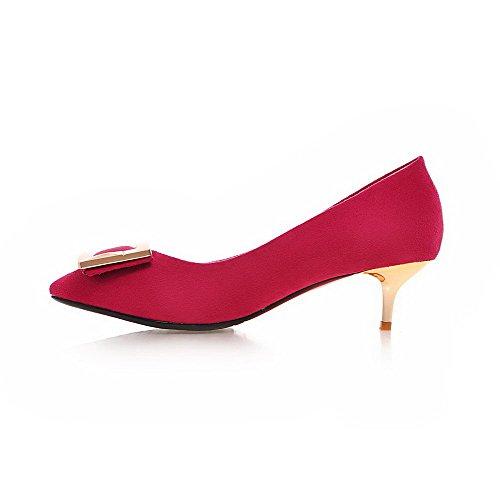 AllhqFashion Femme à Talon Correct Dépolissement Mosaïque Tire Pointu Chaussures Légeres Rose Tendre