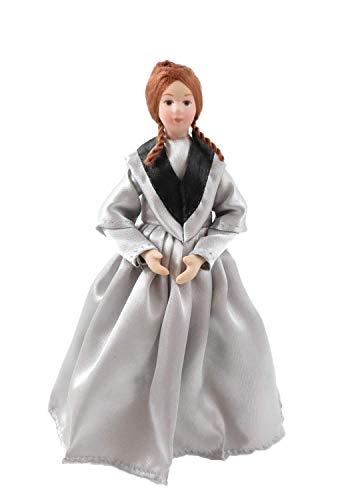 Melody Jane Casa de Muñecas Victoriano Mujer en Gris Vestido Porcelana Mujeres 1:12 Personas