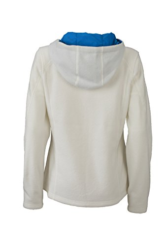 James & Nicholson Damen Fleece Hoody Jacke Weiß (Off-White/Aqua)